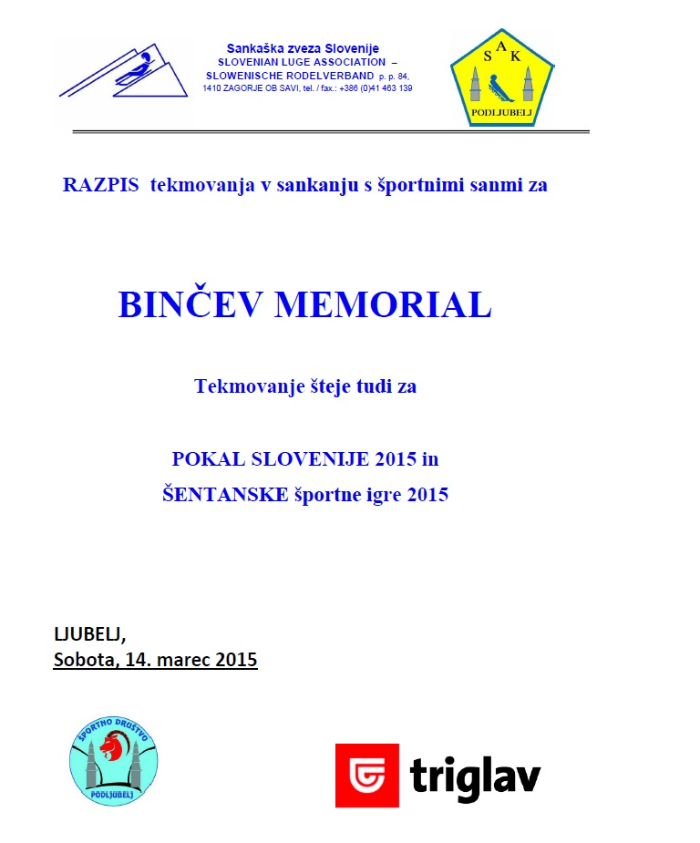 Slika razpis Binčev memorial 2015