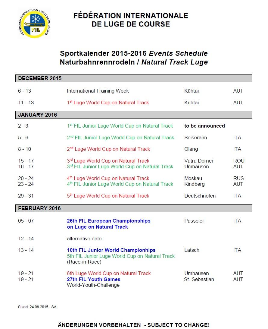 tekmovalni koledar za naravne proge sezona 2015-16